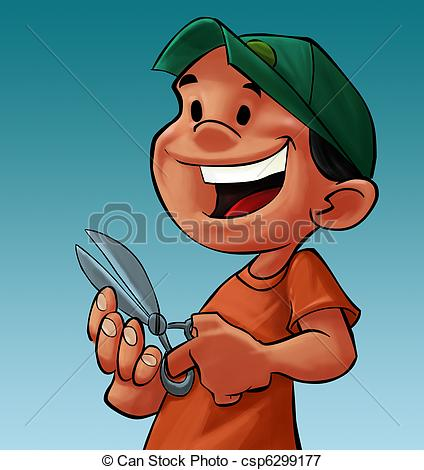 Nails clipart nail cutting Boy cutting with a Illustration
