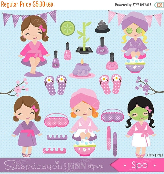 Nails clipart pamper party Snapdragonandfinn girls clipart Party clipart
