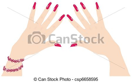 Nails clipart woman hand Vector fingernails Clipart red ruby