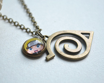 Naruto clipart necklace Necklace handmade Glass Necklace steampunk
