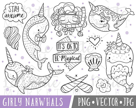 Narwhal clipart magical Art Set for Art Nursery