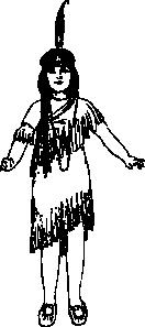 Native American clipart black and white Art Girl Native Clip vector