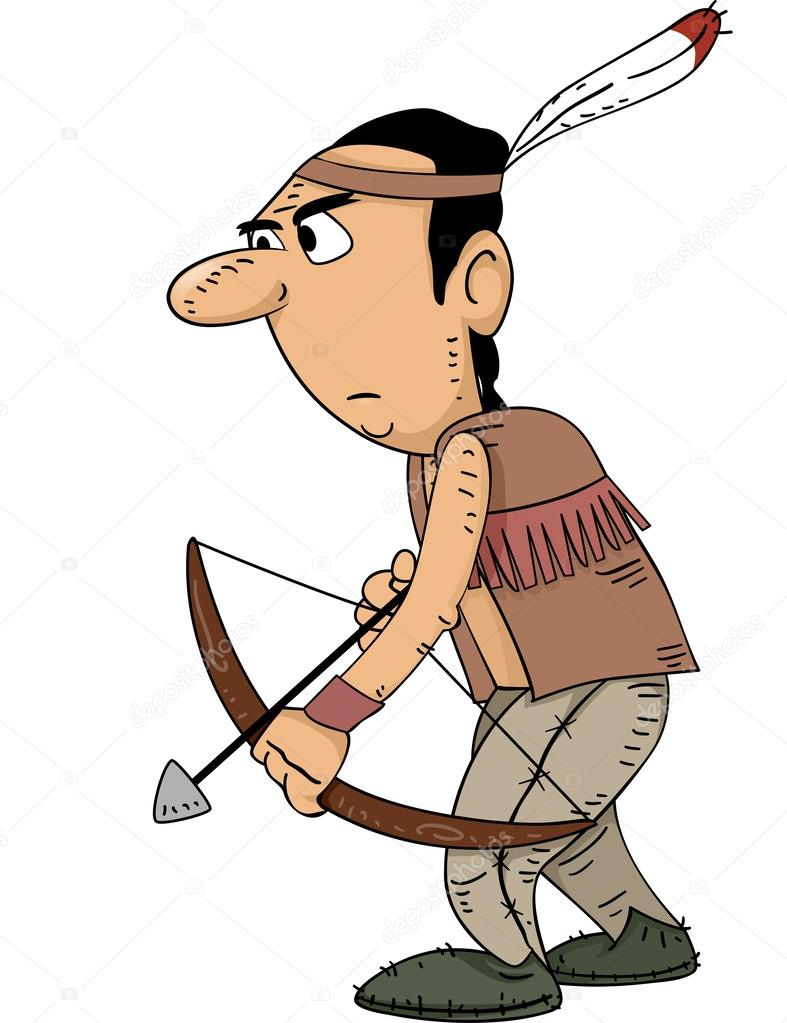 Native American clipart bow hunting — Hunter Stock — Photo