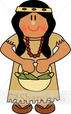 Native American clipart cartoon  Thanksgiving Clipart Cute American