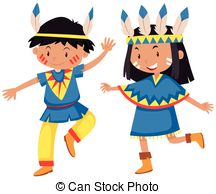 Native American clipart cute Girl indians and Boy in