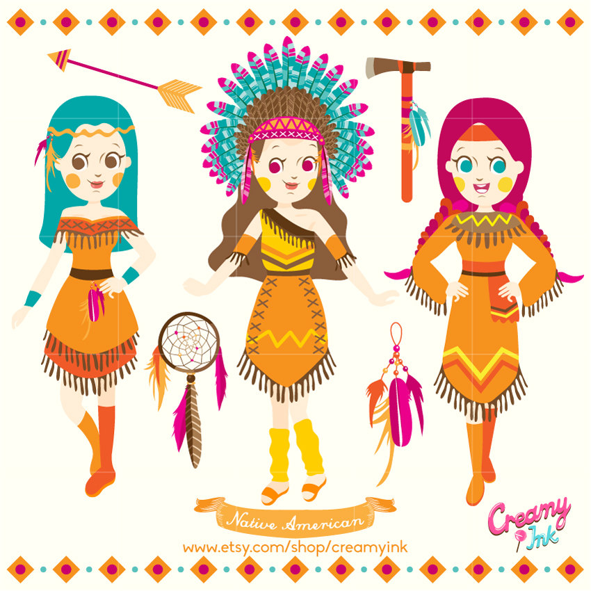 Native American clipart cute / Girls Indian Vector Digital