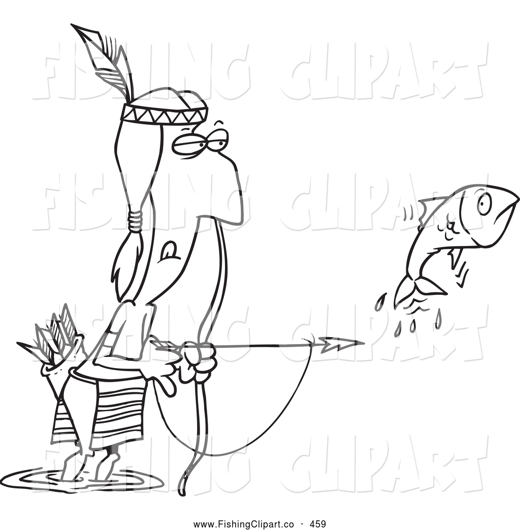Native American clipart person fishing Native White Bow Free Outlined