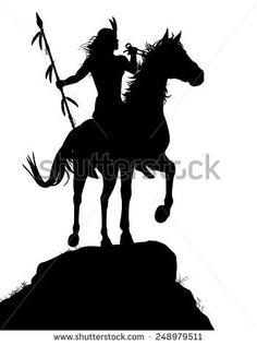 Native American clipart riding horse Silhouette native a American a