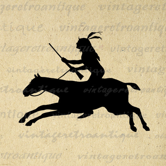 Native American clipart riding horse Riding Printable Silhouette Graphic Vintage