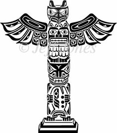 Native American clipart totem pole Stencils Tattoo Poles Wings and