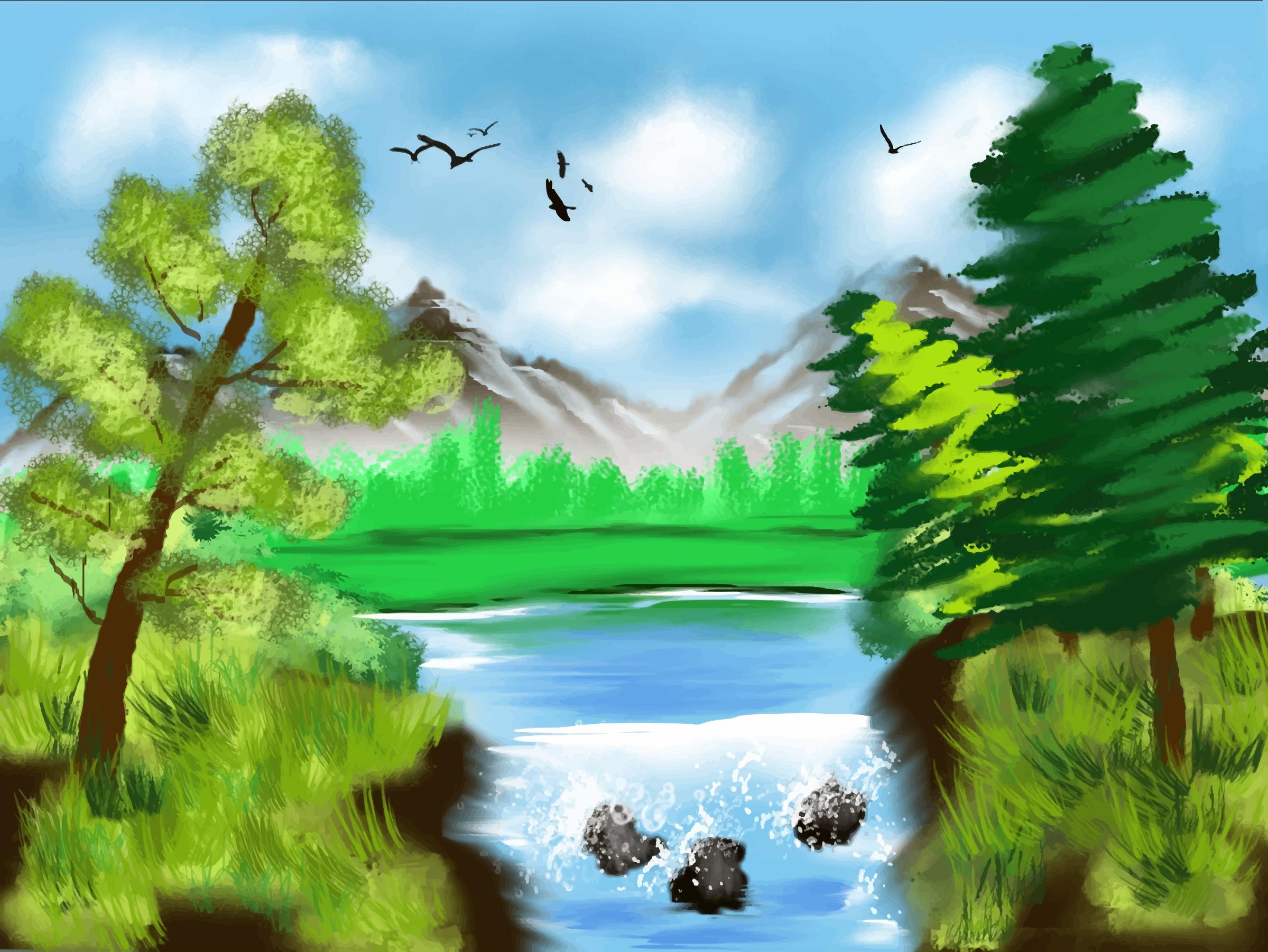 Scenery clipart lake #11