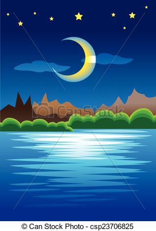 Peaceful Crescent csp23706825 Night Vector