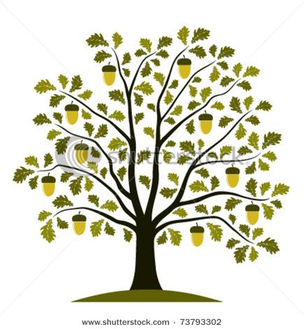 Tree clipart oak tree Vector Art White Tree Black