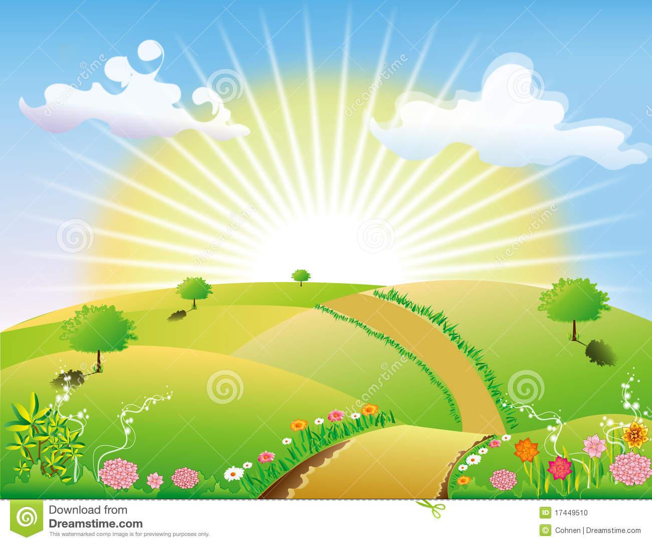 Scenery clipart sun sky #2