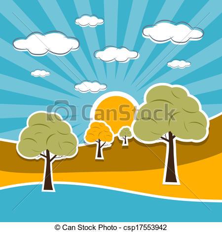 Scenery clipart sun sky #1