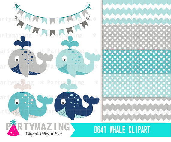 Blue Whale clipart paper And Shower Blue Set Whale