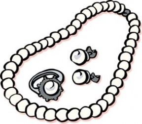 Necklace clipart black and white  White Necklace Clipart 21391