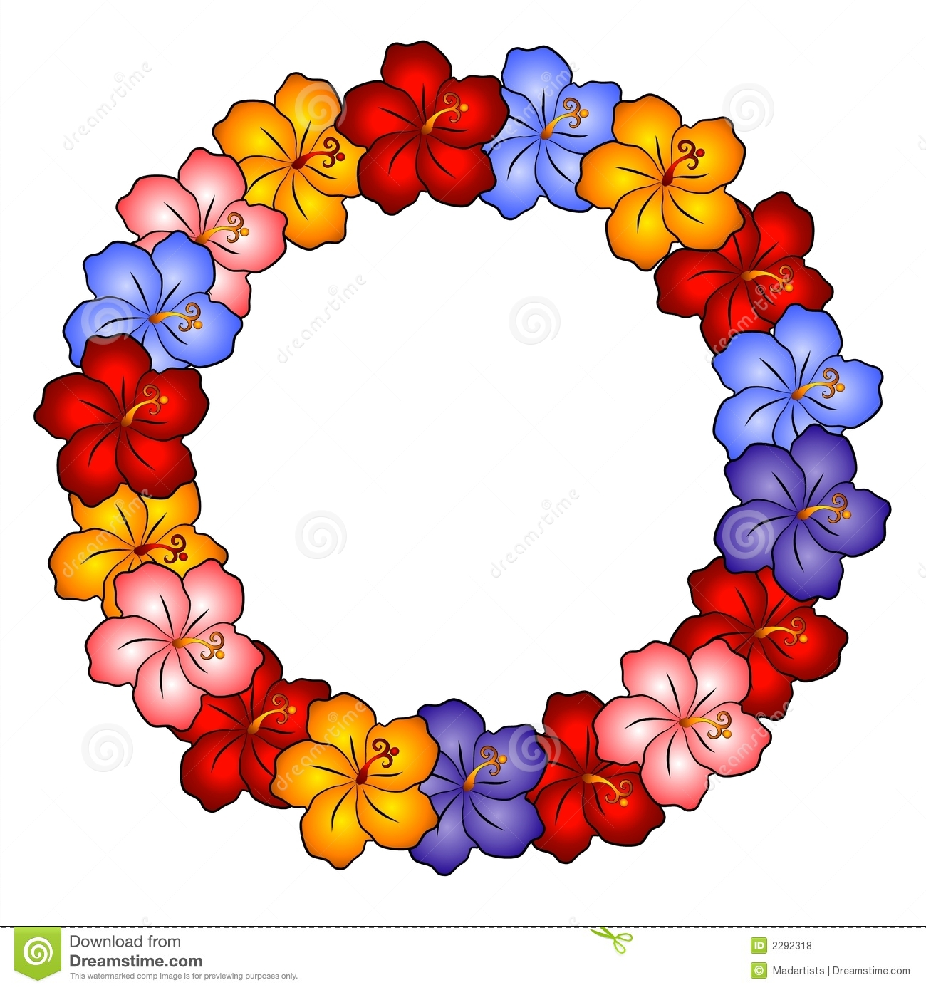 Blue Flower clipart lei flower Background Clip Free Clipart Hawaiian