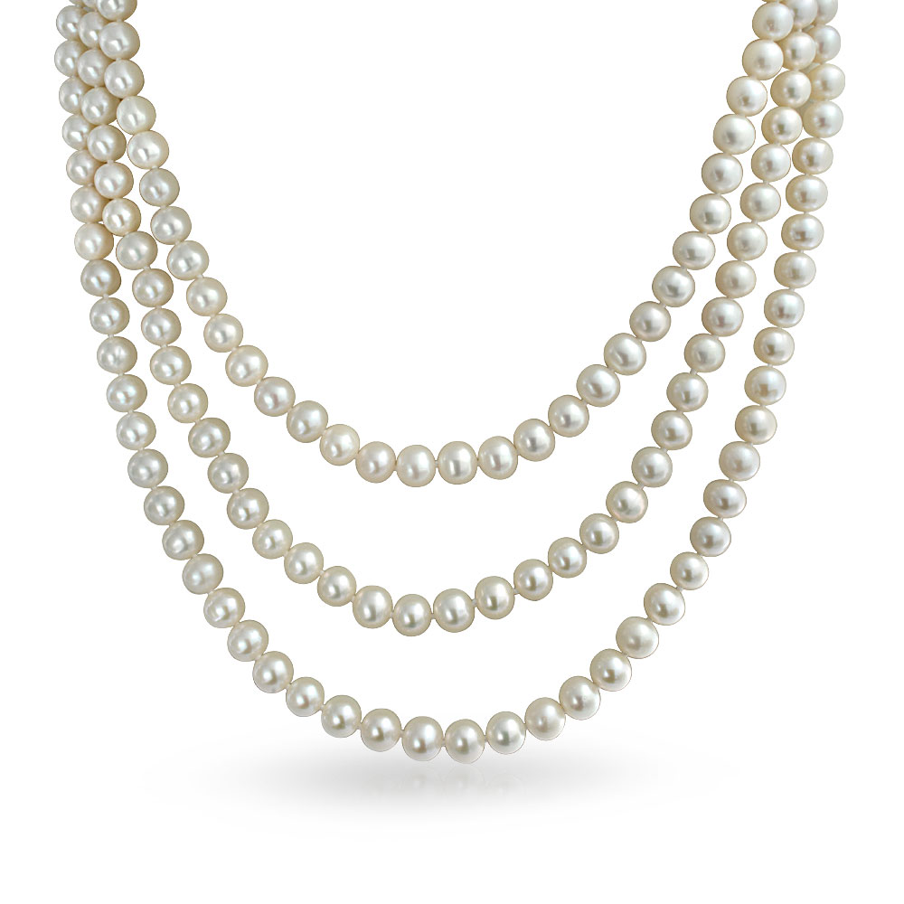Pearl clipart  20in Triple Necklace Strand