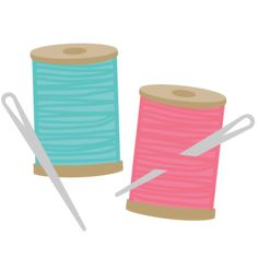 Needless clipart needle and thread  spools vector stock on