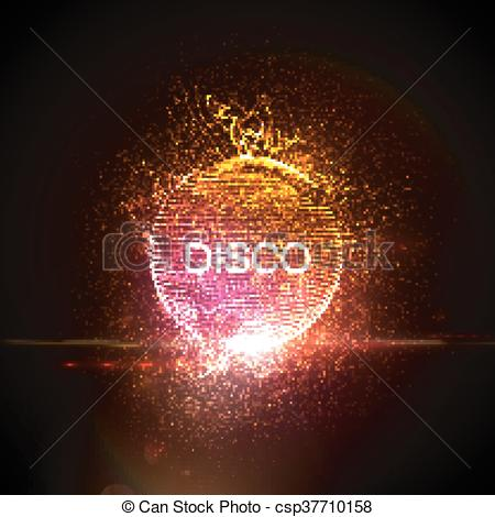Neon clipart disco ball Effect of illustration sign party