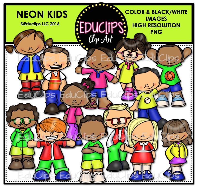 Neon clipart kid Neon B&W) Art (Color Kids