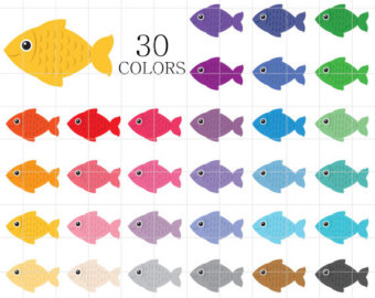 Neon clipart rainbow fish Clip Art Etsy Digital Fish
