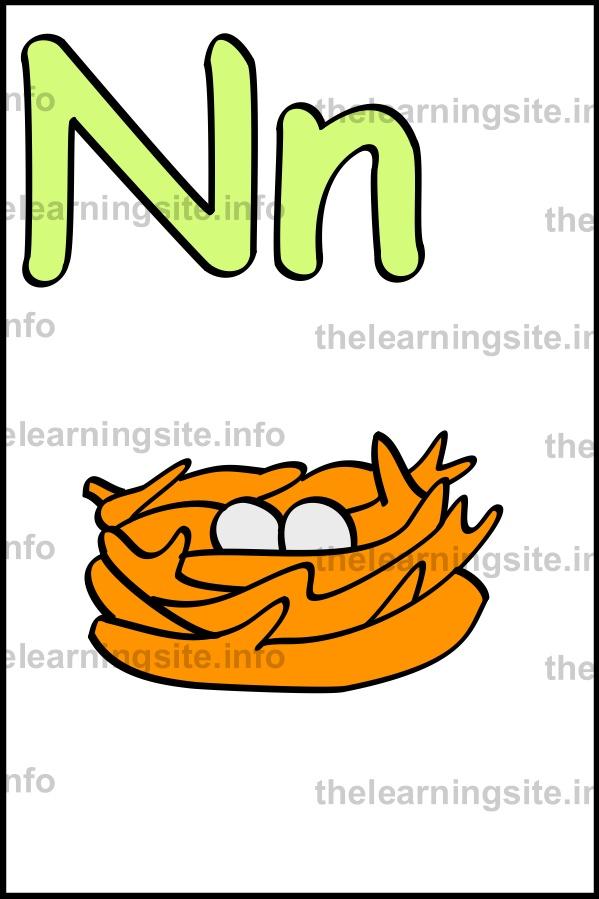Flashcard simple alphabet The n