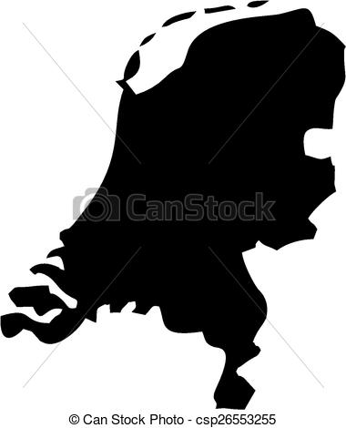 Netherlands clipart black and white Of Vector Netherlands Map of