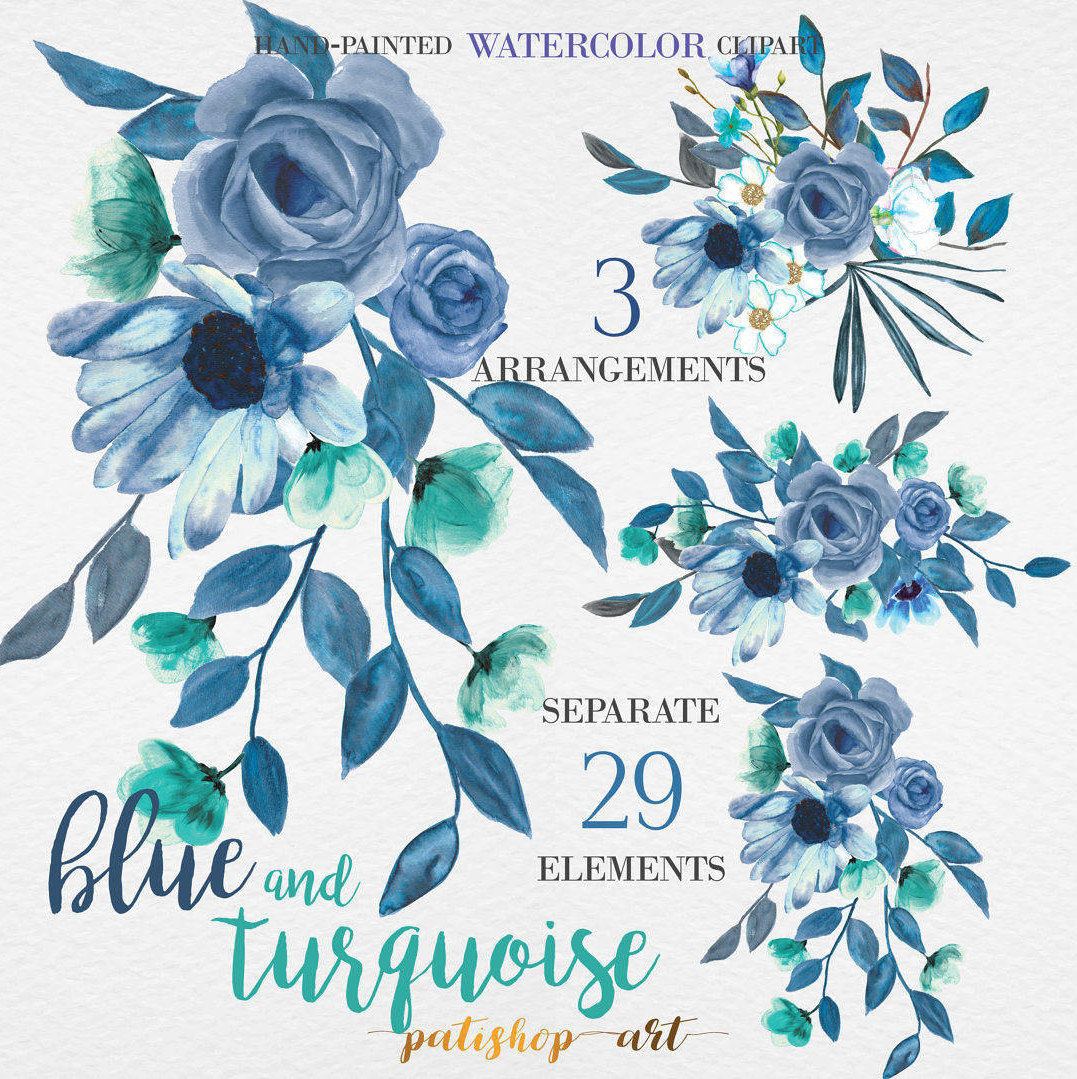 Netherlands clipart blue rose Elements PNG Clip and TURQUOISE