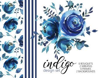 Netherlands clipart blue rose PNG Art Set DIY Watercolor