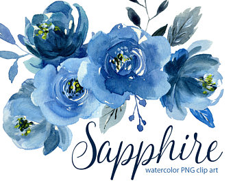 Netherlands clipart blue rose Aquarelle set Sapphire flower clipart: