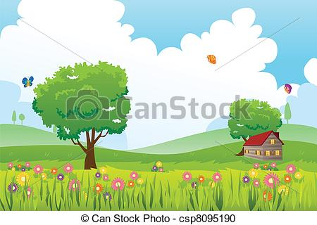 Netherlands clipart spring season Nature csp8095190 Vector landscape A