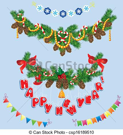 New Year clipart bell Bell and garlands of with
