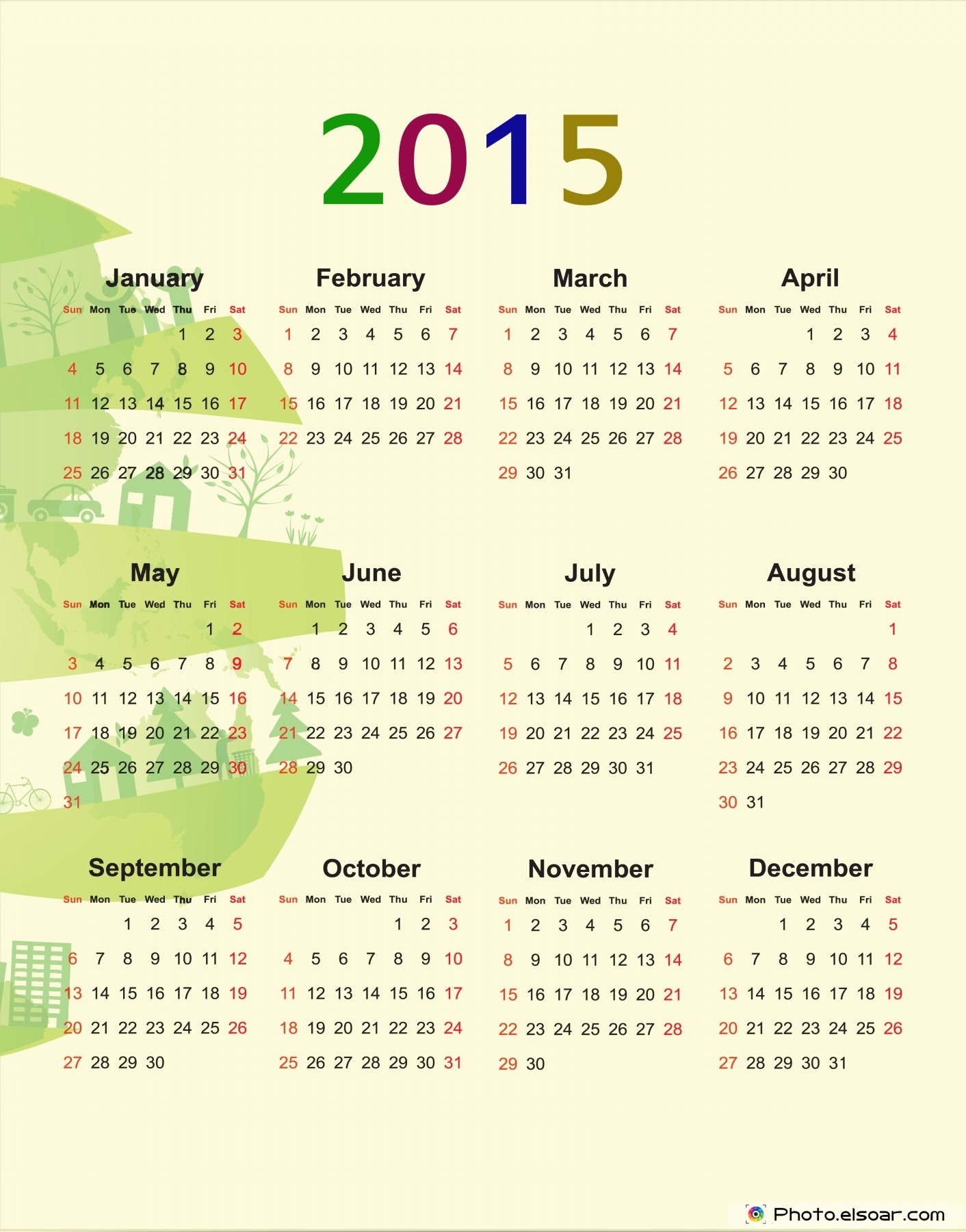 New Year clipart calendar 2015 Year Art) 2015 Simple