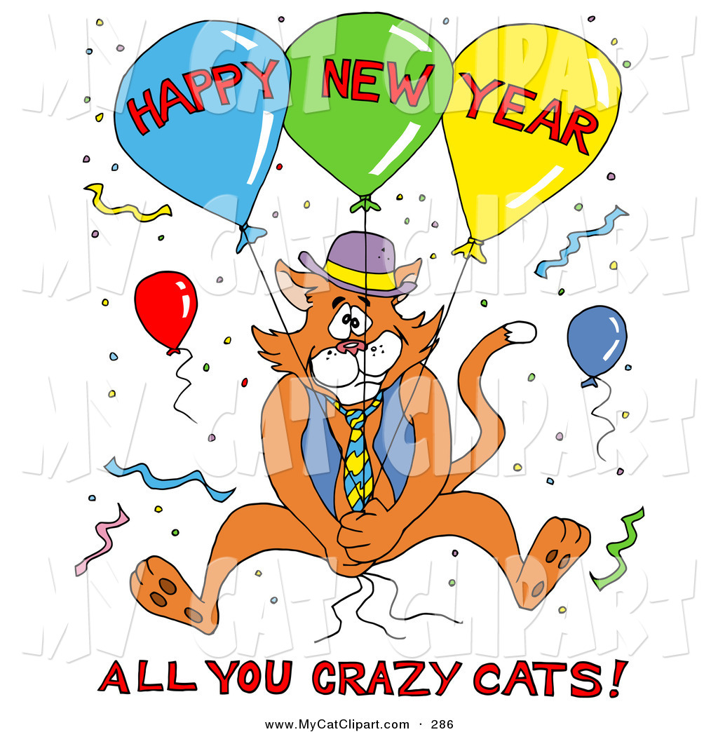 New Year clipart cat Of Vest Holding Balloons a