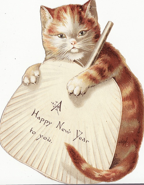 New Year clipart cat On fan Happy with best