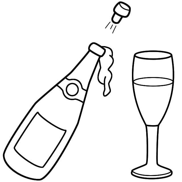 Champagne clipart black and white Coloring Year Happy New Page
