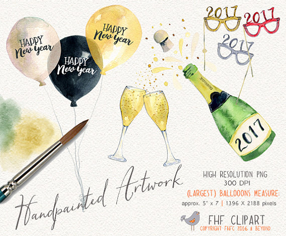 New Year clipart champange Eve Clip Eve 2017 Year