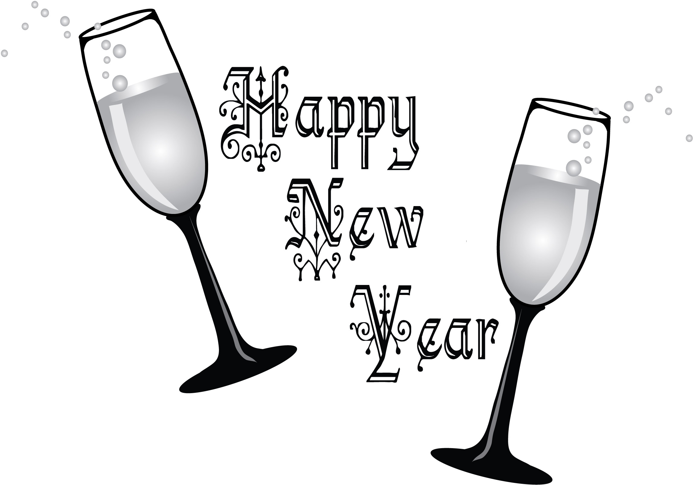 New Year clipart champange – Clip (17) White New
