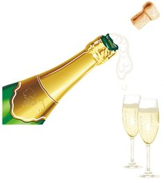 New Year clipart champange Champagne with Glasses New Champagne