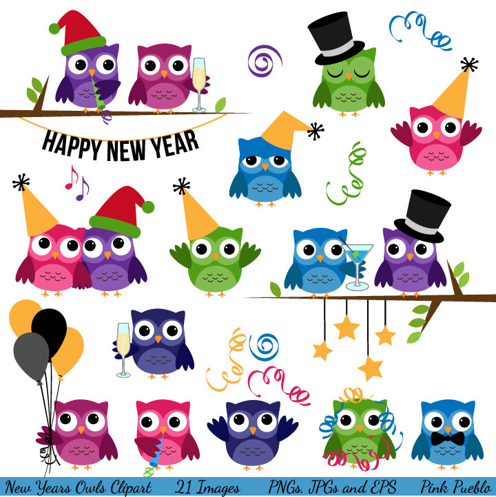 New Year clipart class party Art Years Owls Clipart
