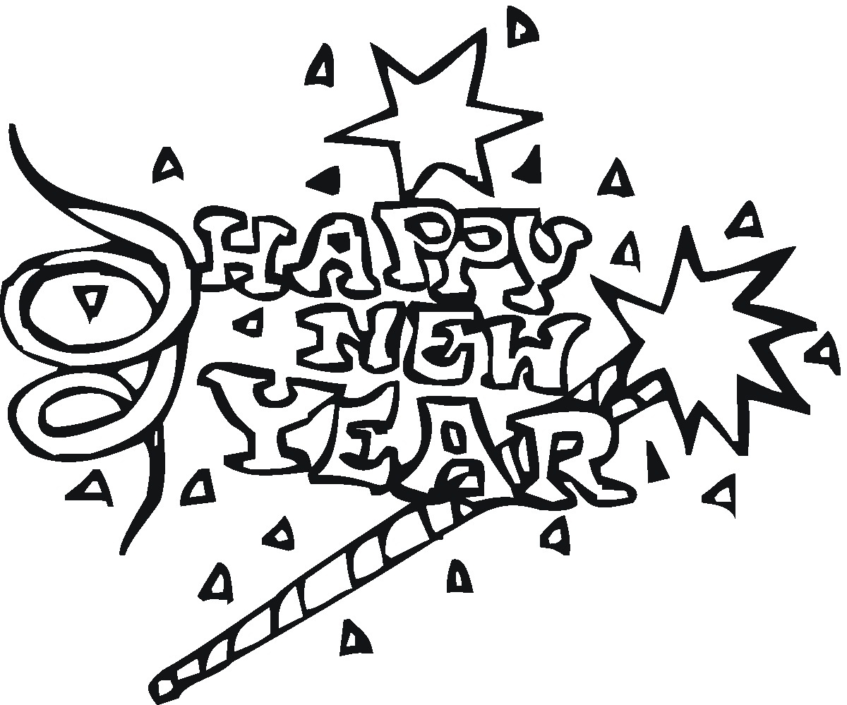 New Year clipart coloring sheet Pages Printable For Coloring Page