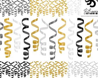 New Year clipart confetti Art Ribbons Happy New New