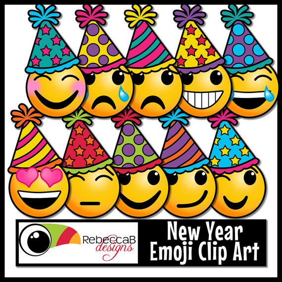 New Year clipart emoji Art Emotions RebeccaBDesignShop New Art: