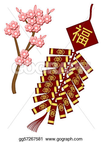 New Year clipart firecracker Illustration year with with Illustrations