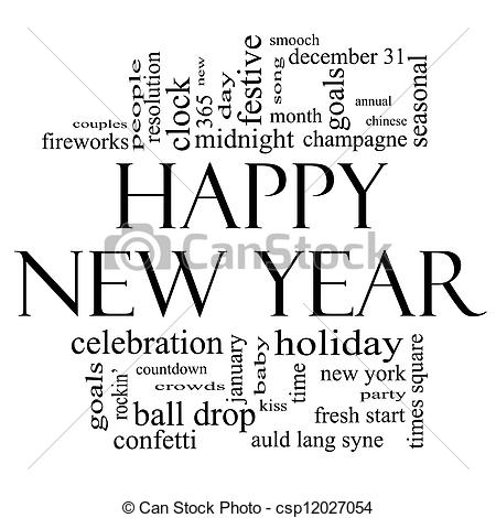 Word clipart happy holiday White year Year Art Happy