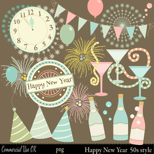 New Year clipart mexican New new years Retro Years