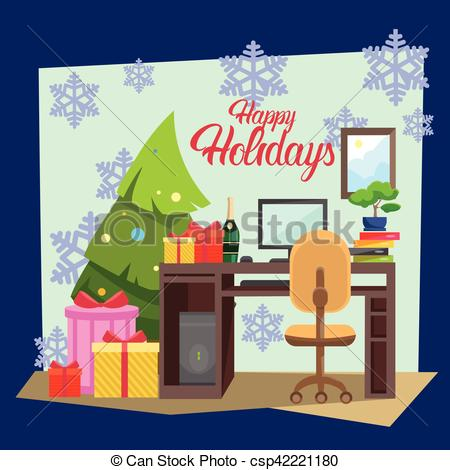 New Year clipart office celebration Year Merry  New Decorated