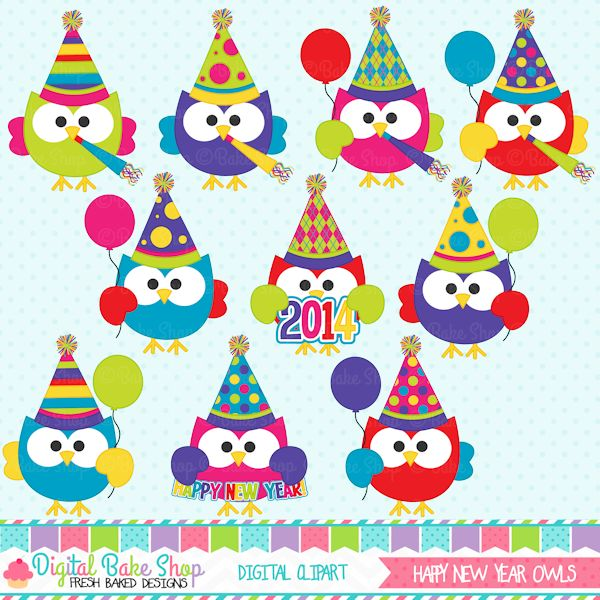 New Year clipart party supply  owls New adorable 33